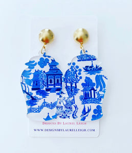 Ginger Jar Chinoiserie Earrings - Pink Willow or Blue Willow