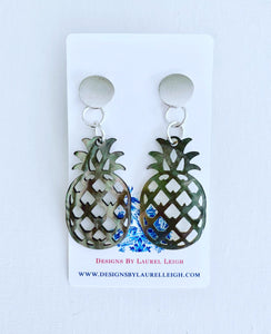 Mother of Pearl Pineapple Statement Earrings - Two Colors - Ginger jar