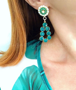 Green Gemstone & Freshwater Pearl Statement Earrings - Ginger jar
