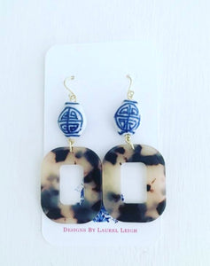 Chinoiserie Tortoise Shell Earrings - Blonde Square - Ginger jar