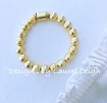 Load image into Gallery viewer, Gold Beaded Statement Bracelet - Ginger jar