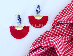 Chinoiserie Ginger Jar Fan Tassel Earrings - Red - Ginger jar