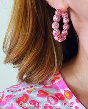 Load image into Gallery viewer, Chinoiserie Longevity Beaded Hoops - Rose Pink
