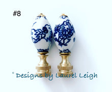 Load image into Gallery viewer, Blue and White Chinoiserie Lamp Finials - Sold Individually