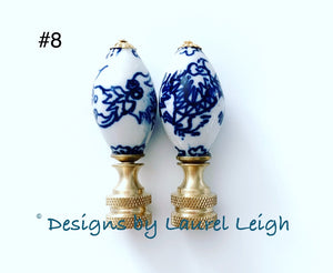 Blue and White Chinoiserie Lamp Finials - Sold Individually