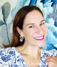 Load image into Gallery viewer, Blue and White Chinoiserie Peony & Bow Earrings