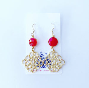 Hot Pink Gemstone Gold Knot Earrings