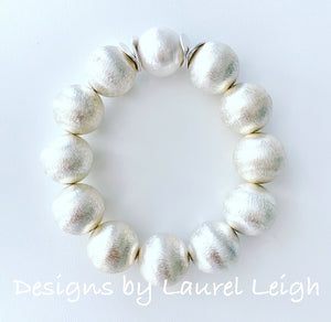 Chunky Silver & Pearl Statement Bracelet - Ginger jar