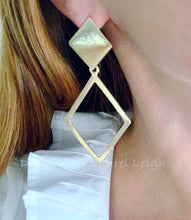 Load image into Gallery viewer, Gold Diamond Shaped Statement Earrings - Posts - Ginger jar