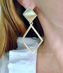 Gold Diamond Shaped Statement Earrings - Posts - Ginger jar