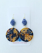 Load image into Gallery viewer, Chinoiserie Longevity Symbol Tortoise Shell Earrings - Ginger jar