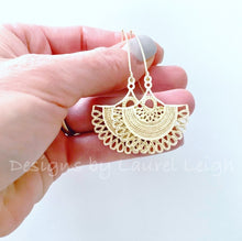 Load image into Gallery viewer, Gold Fan Earrings - Ginger jar