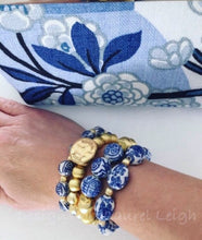 Load image into Gallery viewer, Blue and White Chinoiserie Floral Calligraphy Vintage Bead Statement Bracelet - Ginger jar