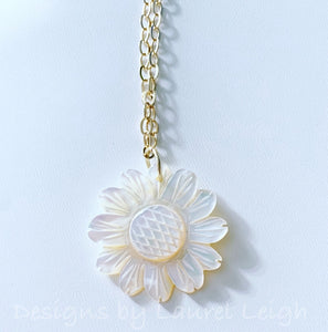Dainty Mother of Pearl Sunflower Necklace - White & Gold - Ginger jar