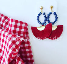 Load image into Gallery viewer, Chinoiserie Beaded Hoop Fan Tassel Earrings - Red or Navy - Ginger jar