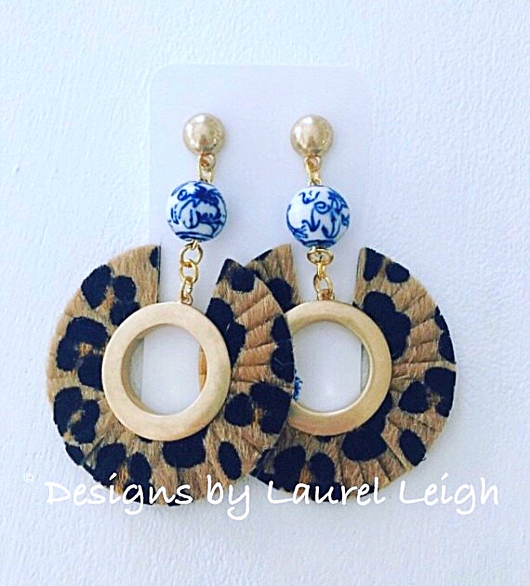 Chinoiserie Leopard Print Statement Earrings - Faux Leather - Ginger jar