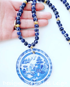 Blue and White Chinoiserie Blue Willow Pendant Statement Necklace - Long - Ginger jar