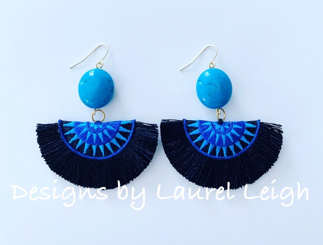 Turquoise Gemstone Fan Tassel Earrings - Royal, Black, Turquoise - Ginger jar