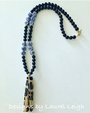 Load image into Gallery viewer, Chinoiserie Leopard Print Tassel Statement Necklace - Black - Designs by Laurel Leigh