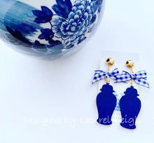 Load image into Gallery viewer, Chinoiserie Chic Ginger Jar Statement Earrings - Pink or Blue Gingham Bows - Ginger jar