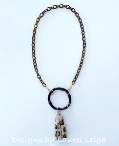 Chinoiserie Bamboo, Tortoise & Leopard Tassel Eyeglass / Sunglass / Mask Holder / Lanyard Chain / Necklace