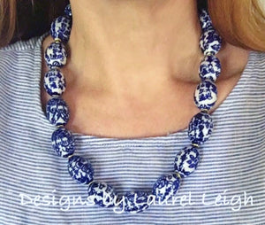 Chunky Chinoiserie Beaded Statement Necklace (Single Strand) - Ginger jar