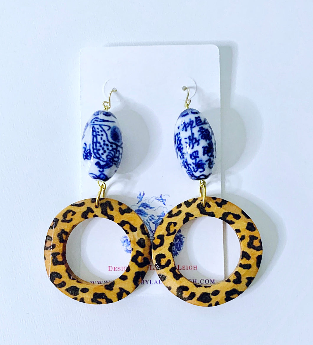 Chinoiserie Leopard Print Beaded Hoop Earrings