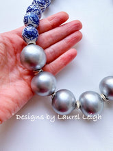 Load image into Gallery viewer, Blue and White Chinoiserie with Jumbo Pearl Chunky Statement Necklace - Silver - Designs by Laurel Leigh
