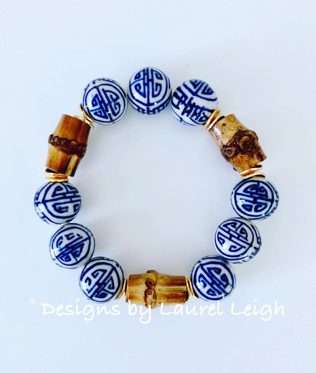 Chunky Blue and White Chinoiserie Bamboo Statement Bracelet - Ginger jar