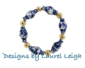 Chinoiserie Ginger Jar and Gold Filled Bead Bracelet