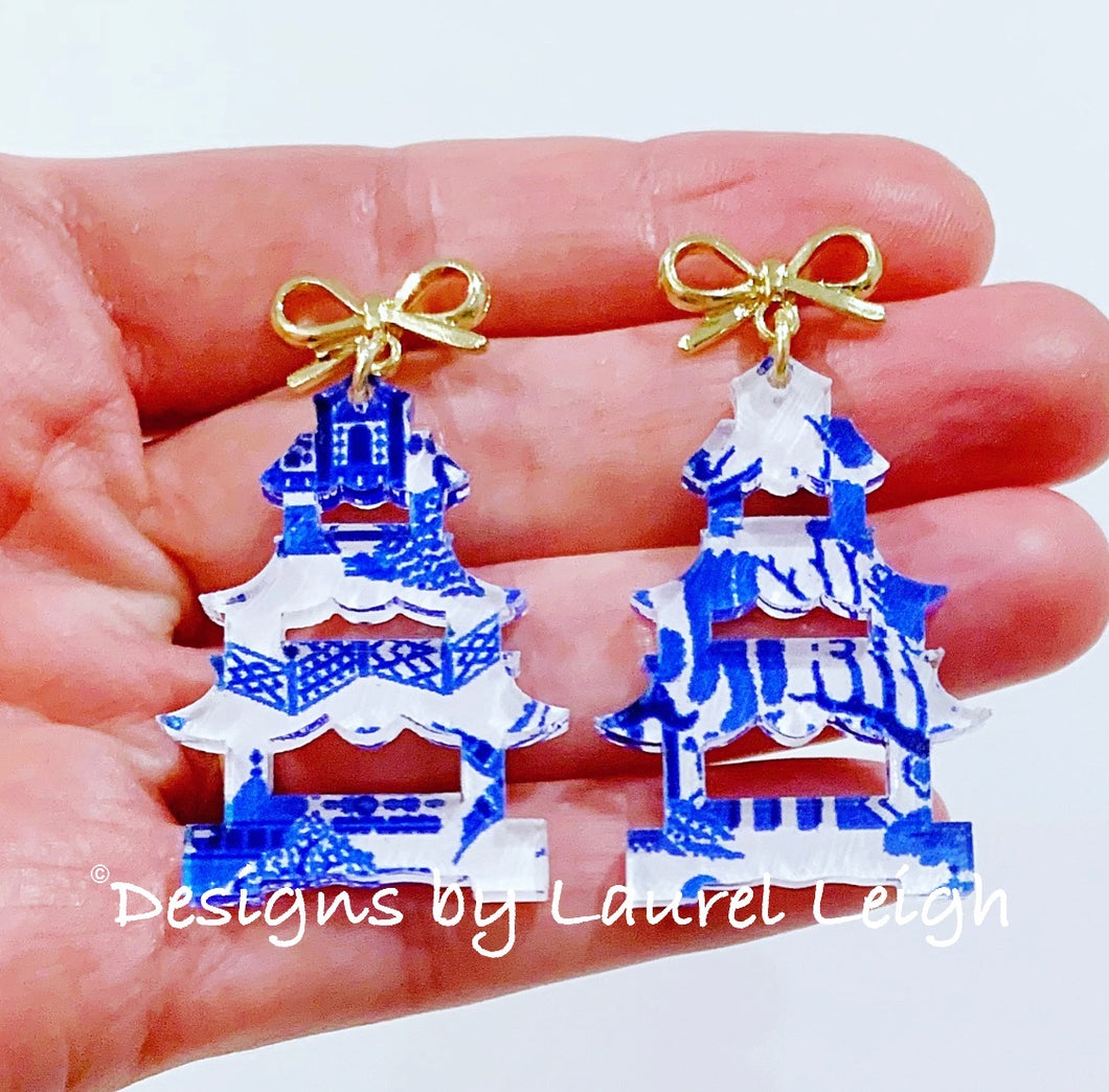 Chinoiserie Pagoda Bow Post Earrings (Small) - Blue Willow, Pink Willow & Gingham