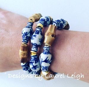 Blue and White Chinoiserie Ginger Jar Beaded Bracelet - Ginger jar