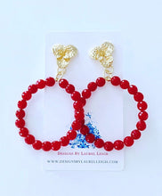 Load image into Gallery viewer, Lipstick Red Gemstone Floral Drop Hoops - Single Hoops - Ginger jar