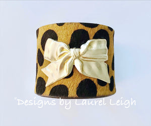 Bow and Animal Print Statement Cuff Bracelet