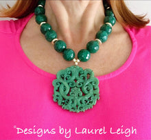 Load image into Gallery viewer, Chunky Emerald Green Jade Chinoiserie Pendant Statement Necklace