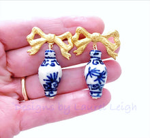 Load image into Gallery viewer, Chinoiserie Ginger Jar Bow Statement Earrings - 3 Styles