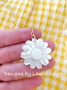 Dainty Mother of Pearl Sunflower Necklace - White & Gold