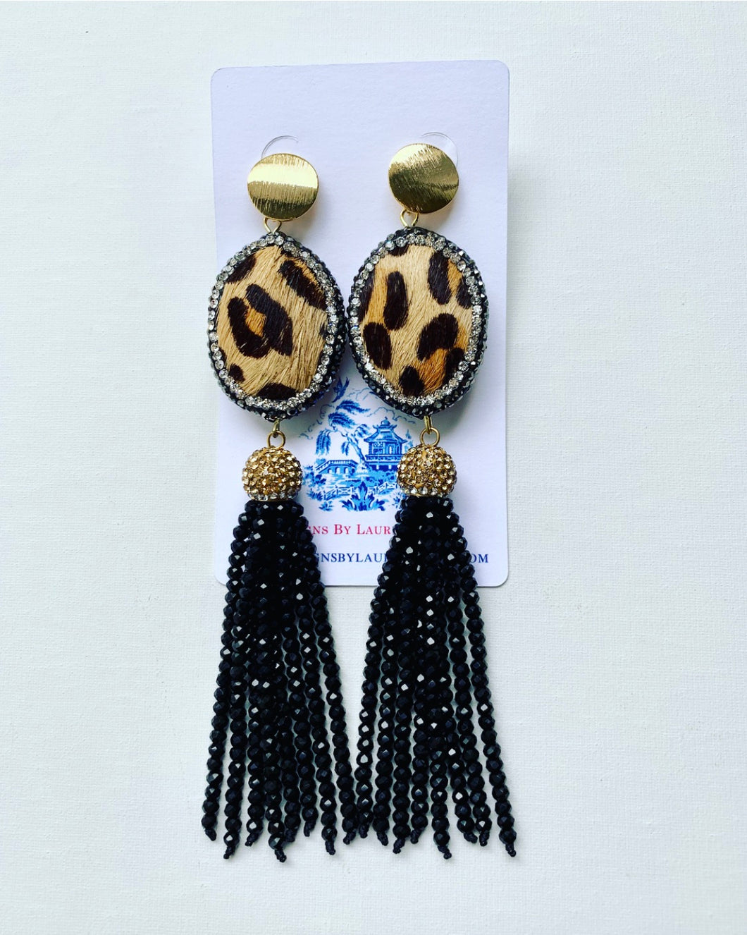 Dressy Seed Bead Tassel Statement Earrings - Gold & Black Leopard - Ginger jar
