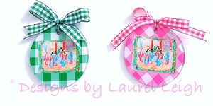 Rose Medallion Watercolor Two-Sided Christmas Ornament - Gingham in Two Colors - Ginger jar