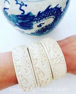 Chinoiserie Dragon Bangle Bracelet - Ivory & Black - Ginger jar