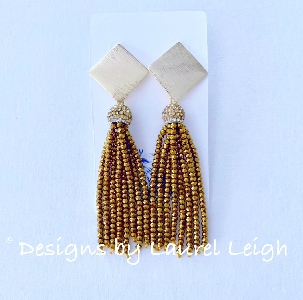 Gold Dressy Beaded Tassel Post Earrings - Designs by Laurel Leigh