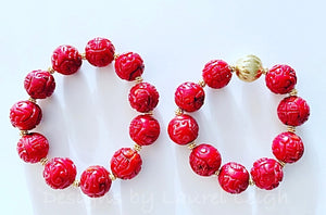 Chunky Red & Gold Bamboo Coral Statement Bracelets