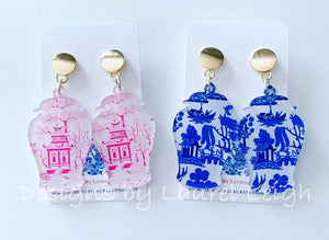 Ginger Jar Chinoiserie Earrings - Pink Willow or Blue Willow - Ginger jar