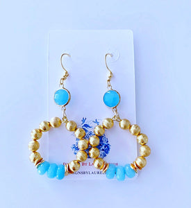 Spa Blue & Gold Beaded Hoops - Ginger jar