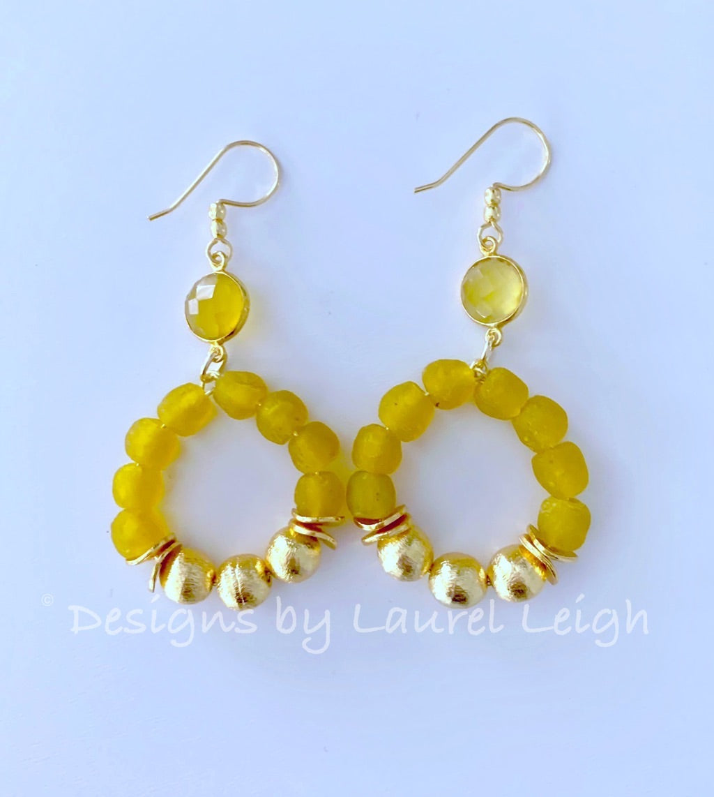 Yellow & Gold Beaded Hoops - Ginger jar