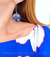 Load image into Gallery viewer, Chinoiserie Blue & White Coin Drop Earrings - Ginger jar