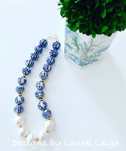 Chunky Blue and White Chinoiserie Jumbo Pearl Floral Statement Necklace - Ginger jar