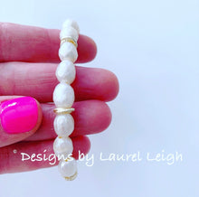 Load image into Gallery viewer, Faceted Freshwater Pearl & Gold Knot Statement Bracelet - Ginger jar