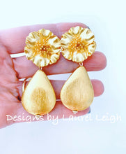 Load image into Gallery viewer, Gold Floral Teardrop Earrings - Ginger jar