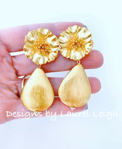 Gold Floral Teardrop Earrings - Ginger jar